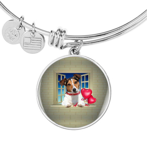 Cute Jack Russell Terrier On Window Print Circle Pendant Luxury Bangle-Free Shipping