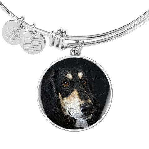 Black Saluki Dog Print Circle Pendant Luxury Bangle-Free Shipping