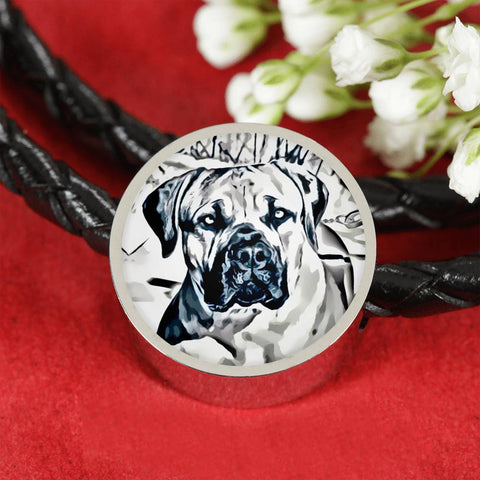 South African Mastiff (Boerboel) Dog Print Circle Charm Leather Bracelet-Free Shipping