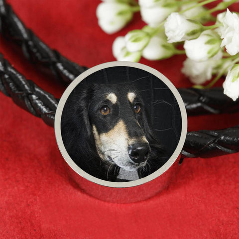 Black Saluki Dog Print Circle Charm Leather Bracelet-Free Shipping