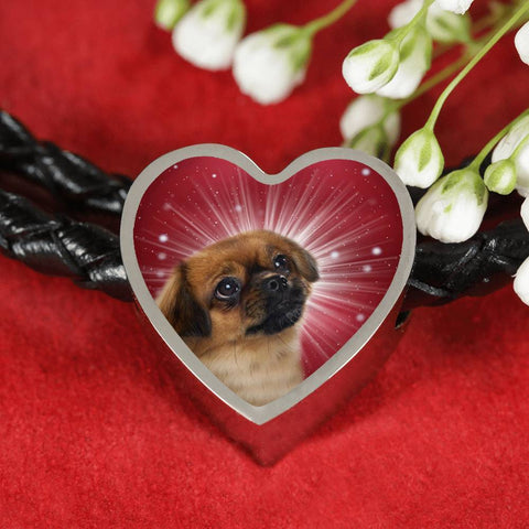 Tibetan Spaniel Dog Print Heart Charm Leather Bracelet-Free Shipping