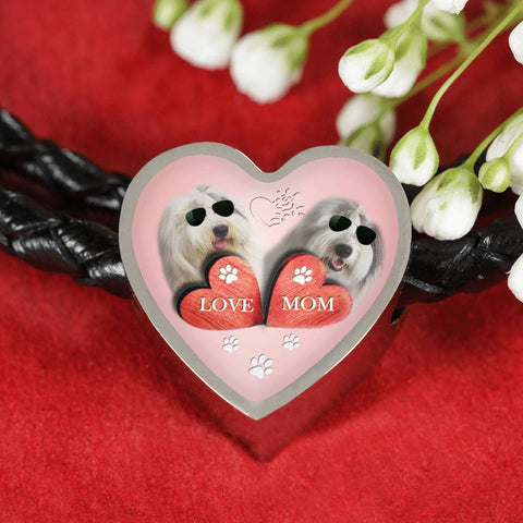 Old English Sheepdog Dog Print Heart Charm Leather Bracelet-Free Shipping
