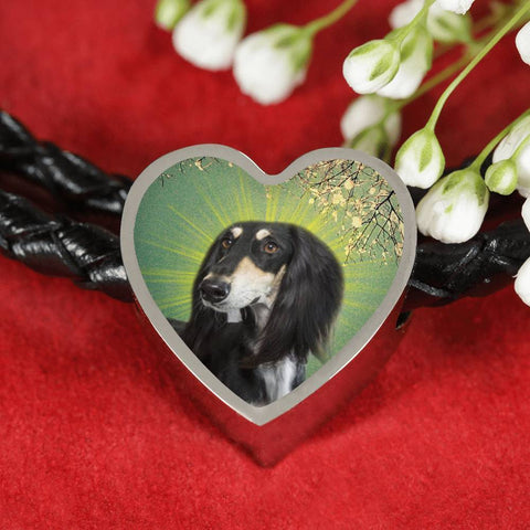 Black Saluki Dog Print Heart Charm Leather Bracelet-Free Shipping