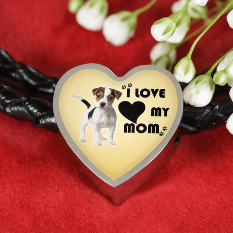 Jack Russell Terrier Print Heart Charm Leather Bracelet-Free Shipping