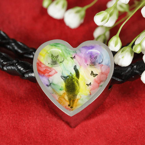 Cute Russian Blue Cat Print Heart Charm Leather Bracelet-Free Shipping
