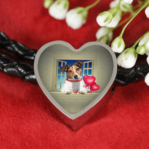 Cute Jack Russell Terrier On Window Print Heart Charm Leather Bracelet-Free Shipping