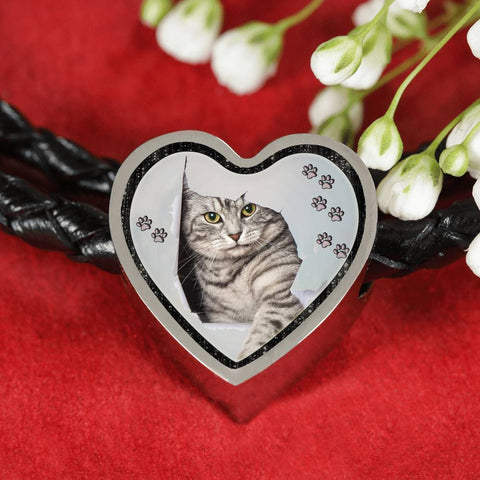 Charming Cat Art Print Heart Charm Leather Woven Bracelet-Free Shipping