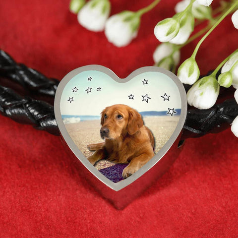 Cute Golden Retriever Print Heart Charm Braided Bracelet-Free Shipping