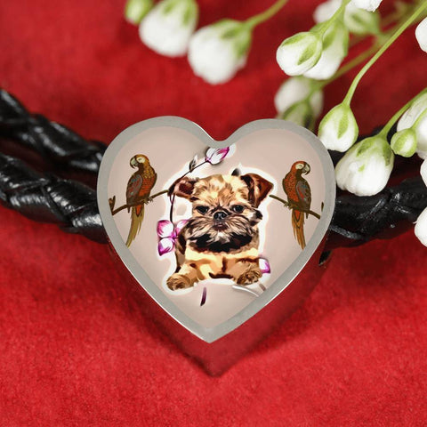 Brussels Griffon Dog Print Heart Charm Leather Bracelet-Free Shipping