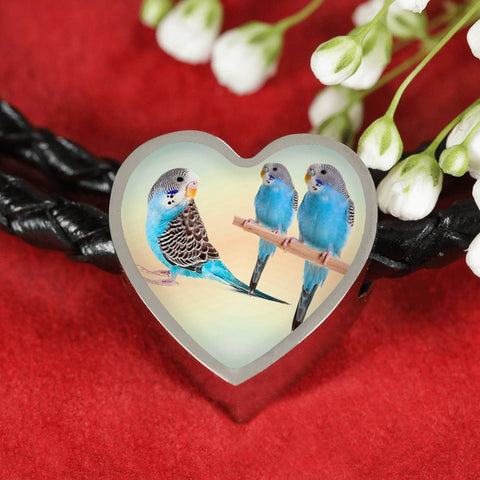 Blue Budgie Parrot Print Heart Charm Leather Woven Bracelet-Free Shipping