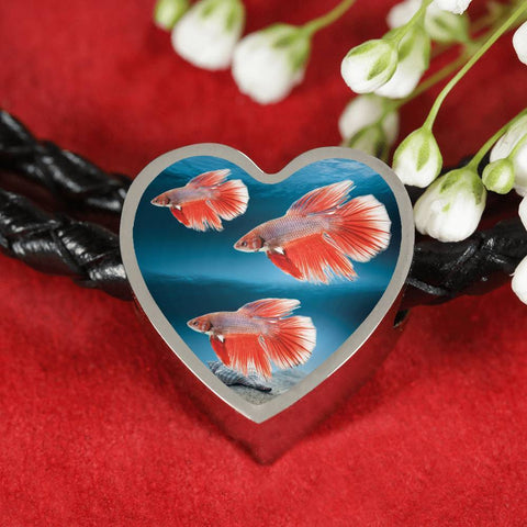 Siamese Fighting Fish Print Heart Charm Braided Bracelet-Free Shipping