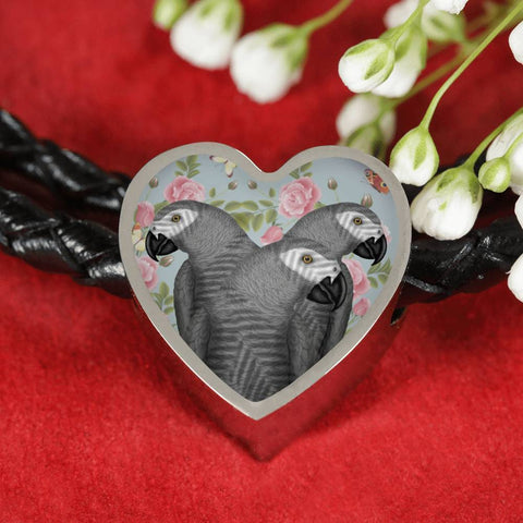 African Grey Parrot Print Heart Charm Leather Bracelet-Free Shipping