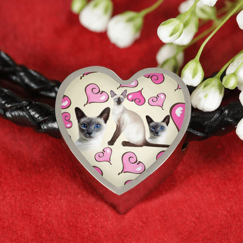 Siamese Cat Print Heart Charm Leather Bracelet-Free Shipping