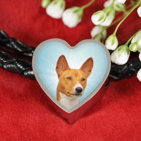 Basenji Dog Print Heart Charm Leather Bracelet-Free Shipping