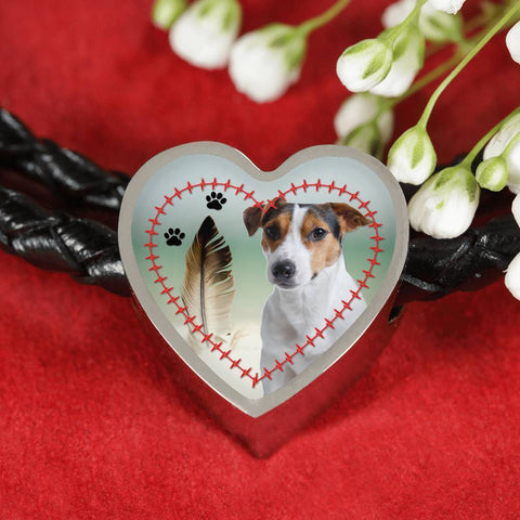 Jack Russell Terrier Print Heart Charm Braided Bracelet-Free Shipping