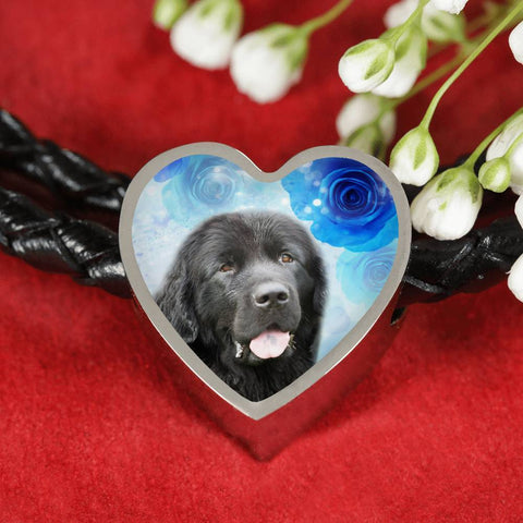 Newfoundland Dog Print Heart Charm Leather Bracelet-Free Shipping