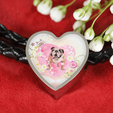 Bulldog Print Heart Charm Leather Bracelet-Free Shipping