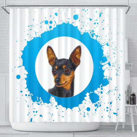 Miniature Pinscher Dog Print Shower Curtain-Free Shipping