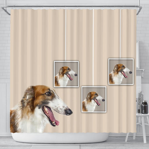 Borzoi Dog Print Shower Curtain-Free Shipping