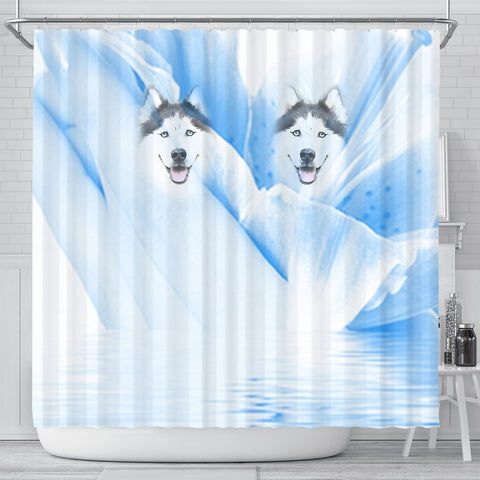 Siberian Husky Print Shower Curtain-Free Shipping
