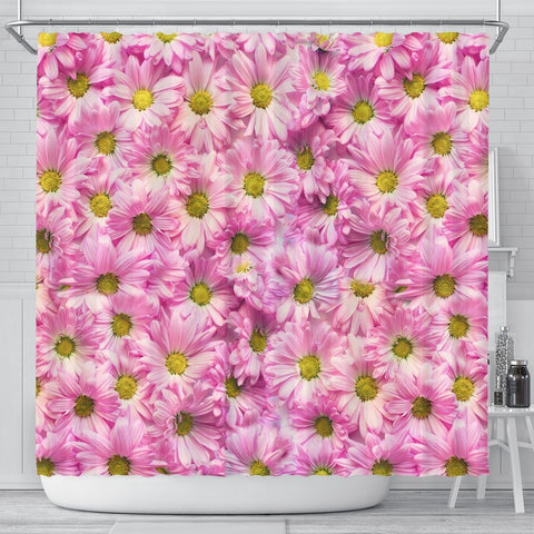 Pink Daisy Flower Print Shower Curtains-Free Shipping