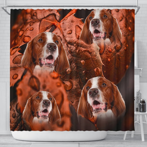 Cute Irish Red and White Setter Print Shower Curtains-Free Shipping