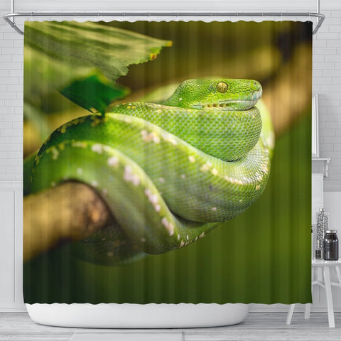 Green Snake Print Shower Curtains-Free Shipping