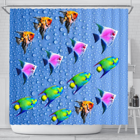 Colorful Angel Fish Print Shower Curtains-Free Shipping