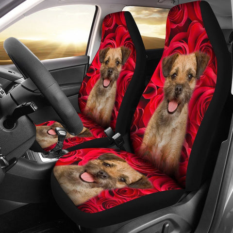 Border Terrier On Rose Print Car Seat Covers-Free Shipping