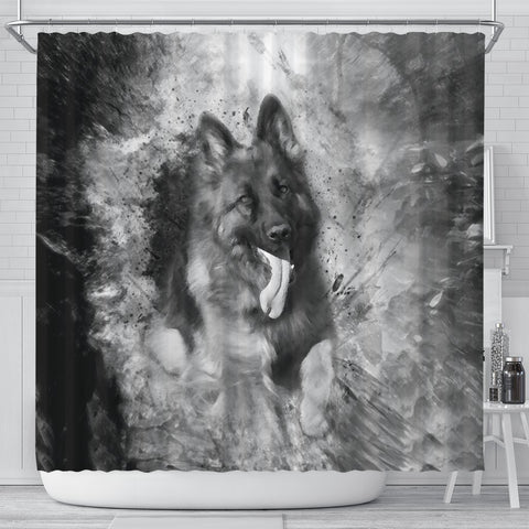 German Shepherd Black And White Print Shower Curtains-Free Shipping