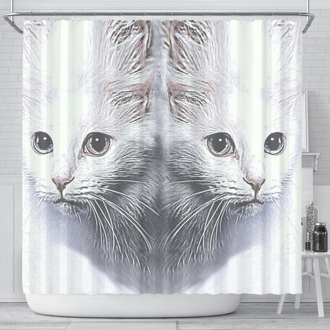 Turkish Angora Cat Print Shower Curtain-Free Shipping