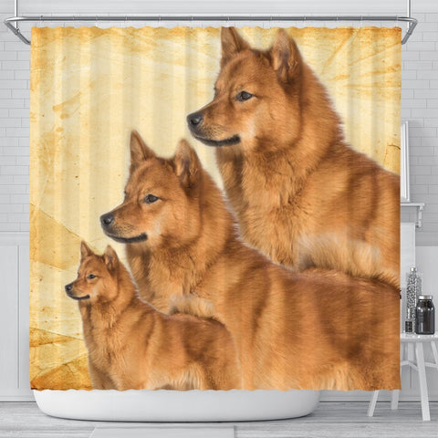 Lovely Finnish Spitz Print Shower Curtains-Free Shipping