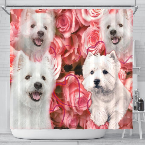 West Highland White Terrier Print Shower Curtains-Free Shipping
