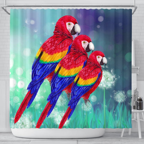 Scarlet Macaw Parrot Print Shower Curtains-Free Shipping