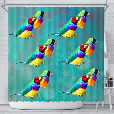 Gouldian Finch Bird Print Shower Curtains-Free Shipping