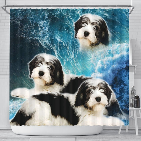Polish Lowland Sheepdog Print Shower Curtains-Free Shipping