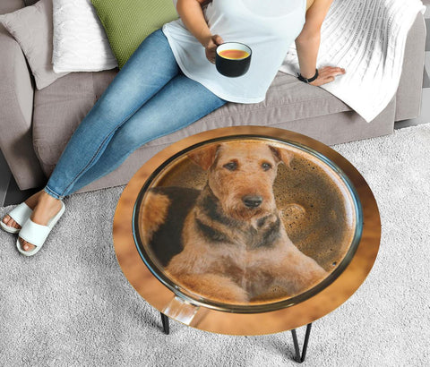 Airedale Terrier Print Circular Coffee Table