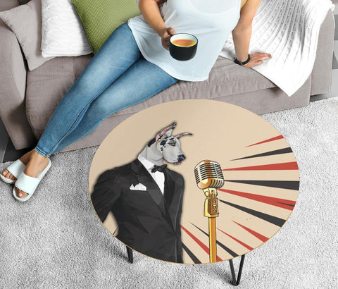 Amazing Great Dane Dog Print Circular Coffee Table