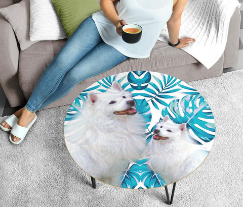 American Eskimo Print Circular Coffee Table