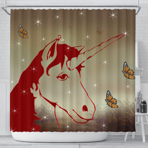 Amazing Red Unicorn Print Shower Curtain-Free Shipping