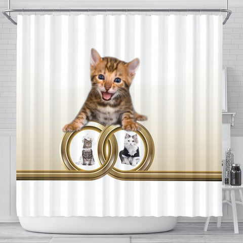 Bengal cat Print Shower Curtain-Free Shipping