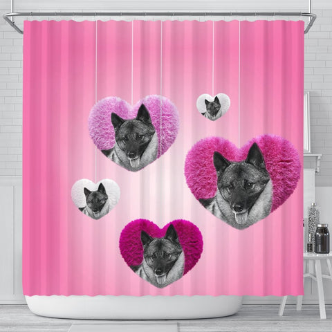 Norwegian Elkhound Print Shower Curtain-Free Shipping