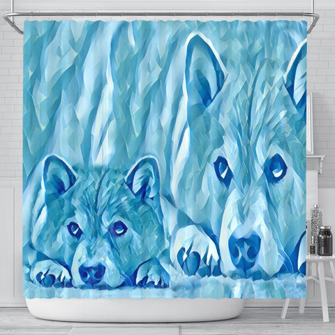 Snowy Shiba Inu Dog Print Shower Curtains-Free Shipping