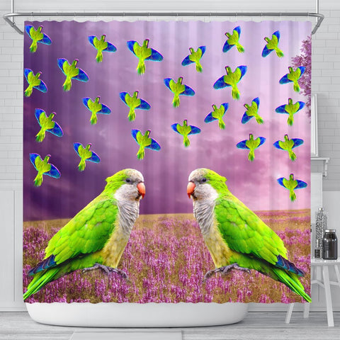 Monk Parakeet Parrot Print Shower Curtains-Free Shipping