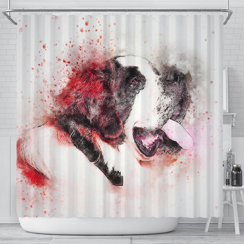 St. Bernard Dog Watercolor Art Print Shower Curtains-Free Shipping