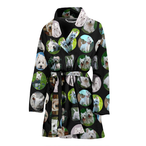 West Highland White Terrier Dog Pattern Print Women's Bath Robe-Free Shipping