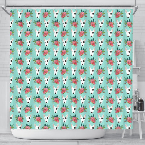 Bull Terrier Dog Floral Print Shower Curtains-Free Shipping