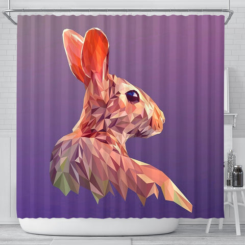 Rabbit Vector Art Print Shower Curtains-Free Shipping