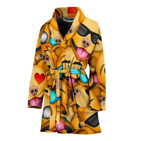 Pit Bull Dog Smileys Print Women's Bath Robe-Free Shipping