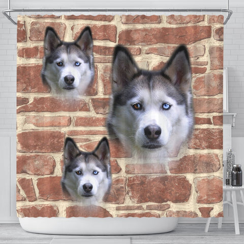 Siberian Husky On Wall Print Shower Curtains-Free Shipping